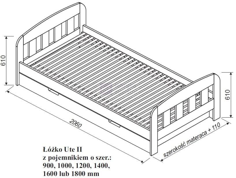 Zaawansowane Łóżko sosnowe UTTE II z pojemnikiem Spar Meble Fabryka Sypialni OS28