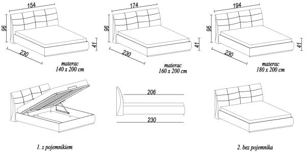 Łóżko Apollo S wymiary